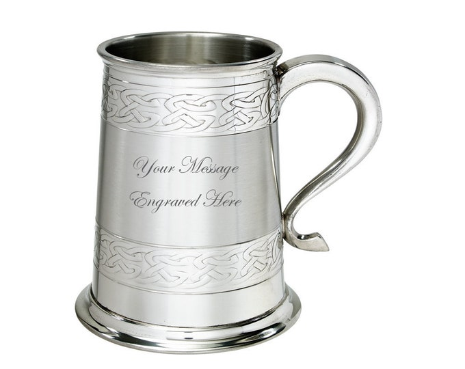 Personalised Pewter Celtic Bands 1 Pint Tankard Customised Engraved Message & Scottish Clan Crest