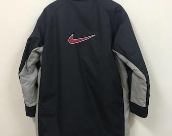 Vintage 90s Nike Swoosh Embroide Windbreaker Fleece Inside Big Logo  Raincoat Winter Coat Long Jacket Perfect