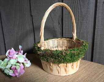 FREE SHIPPING!/Flower girl basket/rustic flower girl basket/woodland flower girl basket /flower girl accessory/altered rustic designs basket
