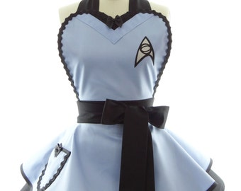 Retro Apron - Blue Trekkie Spock Womans Aprons - Vintage Apron Style - Pin up Trekkie Rockabilly Cosplay