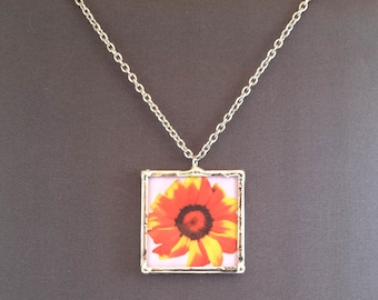 "Red Gerbera Flower Necklace, 1.5"" Pendant Necklace; Simple Elegance; Gift Wrapping Available"