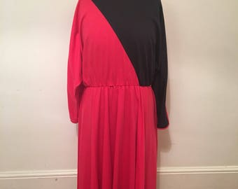 80s vintage batwing, asymmetric, long-sleeved, red dress