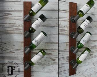 Modern Industrial Wine Rack - Black Iron Pipe Wine Rack