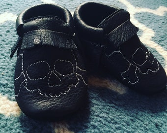 The Sam Moccasin - kids leather moccasin - baby moccasins - toddler moccasins - upcycled - ecofriendly - kids shoes - handmade shoes