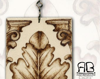 Acanthus from the past-pyrography on wood