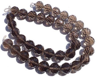 Excellent Quality AAA Smoky Quartz Faceted Concave Cut Round Beads, 9 to 9.50 mm, 18 cm, 20 pieces, SM-128/1, Semiprecious Gemstone Beads