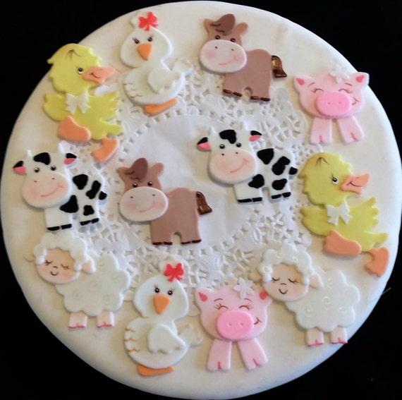 Farm Animal Cake Topper, Farm Cake Topper, Cowboy Cake, Farm Baby Shower, Farm  Baby Animal, Farm Cake Decoration, Farm Animal, Farm Birthday From ...