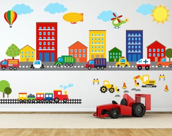 Construction Wall Decal - Truck Wall Decal - Transportation Wall Decal - Boys Room Decal - Truck Theme Wall Decals