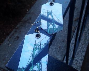 St Johns Bridge - pdx hand-painted earrings - Portland, Oregon