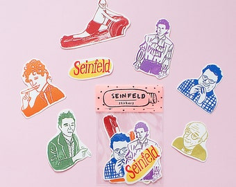 Seinfeld WATERPROOF Sticker Pack -Set of 7 - Vinyl Stickers - Hand Drawn Sticker - Handmade Sticker - Seinfeld Sticker