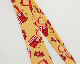 Boy's traditional Neck tie - Fire engines, fireman, vehicles.