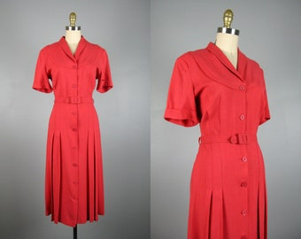 Vintage 1940s Coral Linen Shirt Dress Late 40's Early 50s Linen Dress with Belt Size L