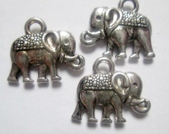 14 pcs Antique Silver Elephant Charms 14 mm, Lead, Nickel & Cadmium Free Jewelry Findings, metal findings