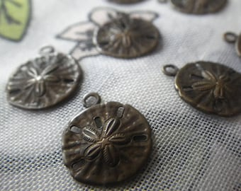 Small Sand Dollar Brass Ox Stampings Charms Pendants 11mm Diameter 6 Pcs