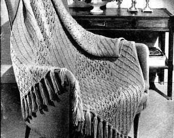 Unique Lattice Lace Afghan Knitting Pattern 726085