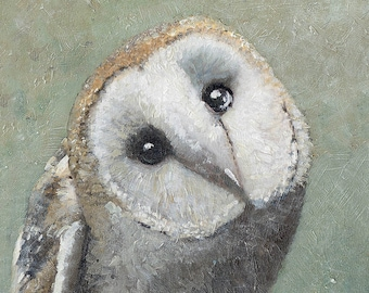 Barn Owl #3 Fine art canvas print, owl painting, custom made, wildlife art, gift for someone special, animal art, drawings and art paintings