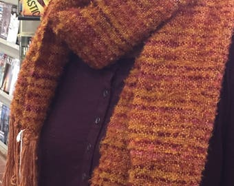 Handwoven merino/yak, mohair boucle scarf