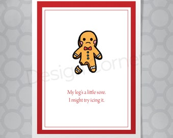 Gingerbread Man Icing Funny Illustrated Christmas Card