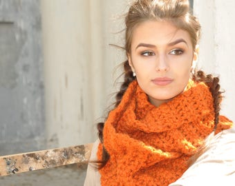Pumpkin   Chunky scarf for women  Scarf gift mom Gift for her Gift for girlfriend Christmas gift chunky oversized infinity scarf