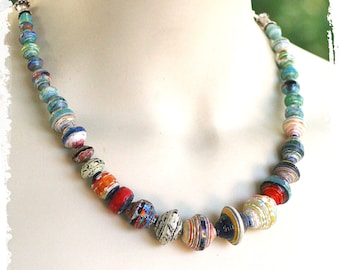 Artisan Mixed Media Necklace for Women Tribal Beaded Handcrafted Gift for Wife Paper Anniversary