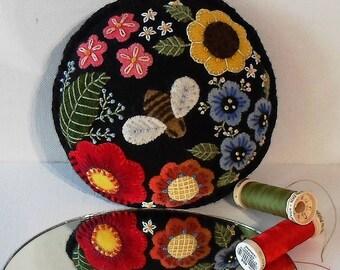 Handmade Pincushion Bee in a Summer Garden Felted Wool Embroidered Pincushion