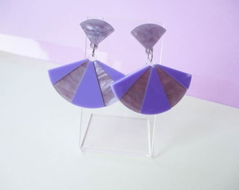 Lavender Fan Dangle Earrings, Laser cut acrylic earrings