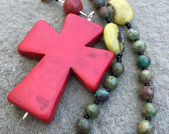 Anglican rosary/ Protestant Rosary- Coral and turquoise prayer beads with coral howlite cross