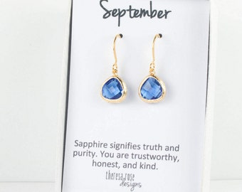 Tiny September Birthstone Gold Earrings, Sapphire Gold Earrings, September Birthday Gift, Gold Earrings, Bridesmaid Jewelry