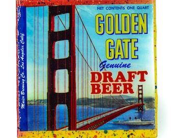 Handmade Coaster Vintage Golden Gate Beer Label Handmade Recycled Tile Coaster