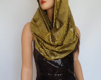 gold sequin snood, gold sequin scarf, festival hood