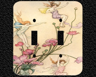 Fairy Revel Double Light Switch Plate Covers in 5 Styles Toggle Rocker Outlet and Combos