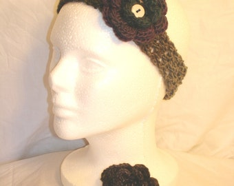 Variegated Purple to Black with Gray Crocheted Headband with Two Interchangeable Flowers