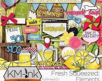 Lemonade Stand Hand Drawn Digital Scrapbook Kit ELEMENTS and WORD ART - Summer Digital Clip Art: pinwheel, citrus, balloon, cloud, flowers