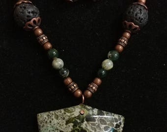 Unique, one-of-a-kind, handmade serpentine conglomerate necklace and earrings
