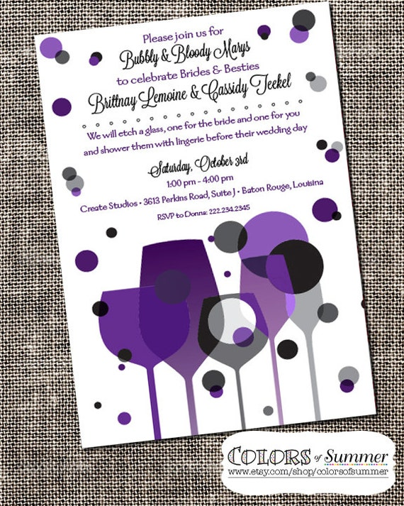 Bridal Shower Brunch Paint Amp Wine Party Invitation Wedding