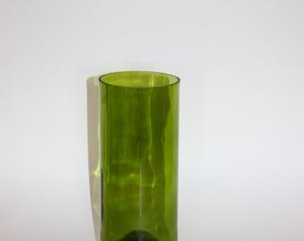 Glass Vase. Upcycled green wine bottle.