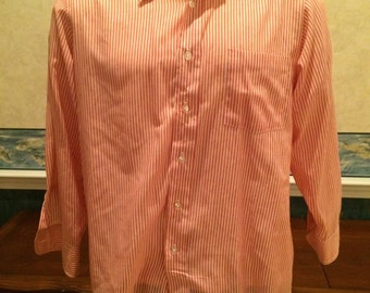 1970s Striped Dress Shirt - Mens Candy Cane Stripe Button Down from Anderson Little size XL