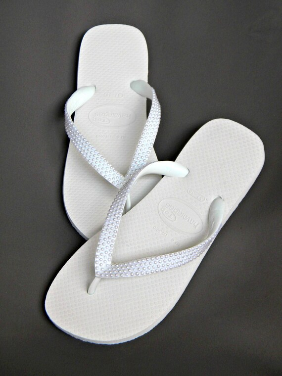 Custom Havaianas flat Flip Flops w/ Pearls or Wedge heel w/ Swarovski Crystal sandal Beach Wedding Shoe Bridal Bridesmaid Flower Girl Thong
