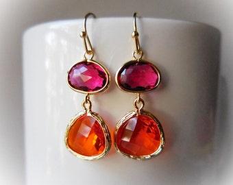 Gold earrings, Ruby red and orange earrings, Earrings gold, Gold glass jewels, Elegant long fancy sun sunflower yellow gift for women, Gold