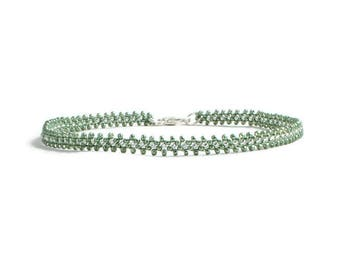Minimalist Dainty Anklet, Chain Ankle Bracelet, Sage Green Anklet, Beaded Foot Jewelry, Seed Bead Anklet, Summer Jewelry
