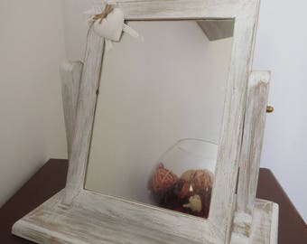 Shabby style wooden folding table mirror, table mirror
