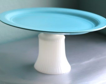 Oval Cake Stand in Turquoise Blue / Cupcake Stand / Dessert Pedestal / Cake Pop Stand for Wedding Cake Pops / Marshmallow Platter Tray