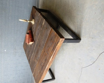 Industrial Chic Style Reclaimed Custom Coffee Table   Steel Solid Wood  Metal Hand Made In Sheffield 036
