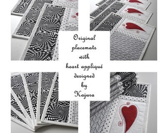 PDF pattern for placemat with heart appliqué