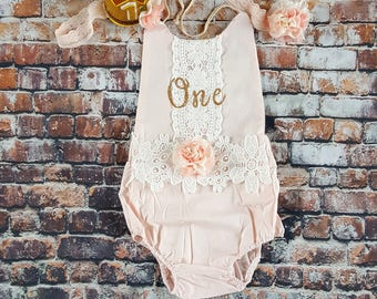 Blush Boho Chic Floral Lace Romper. Headband. Mini Birthday Crown. First Birthday. Gold and Blush Pink. 1st Birthday Girl. Cake Smash.
