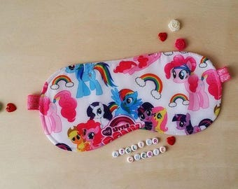 "Sleeping mask / sleep mask ""Little pony"" reversible cotton and quilted"
