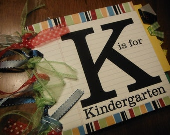 K is for Kindergarten 6x6  Paperbag Scrapbook Album with Premade Pages for 10 Pictures of School