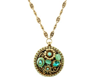 Michal Golan Seafoam Rustic Round Pendant Necklace