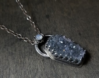 Quartz Coffin Druzy & Moonstone | Snowflake | Sterling Silver Necklace