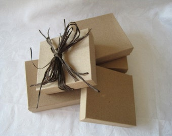 10 Kraft Boxes, Jewelry Gift Boxes, Wedding Favor Boxes, Bridesmaid Gift Box, Cotton Filled 3.5x3.5x1
